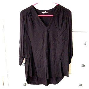 Pleione black three quarter sleeve cotton blouse